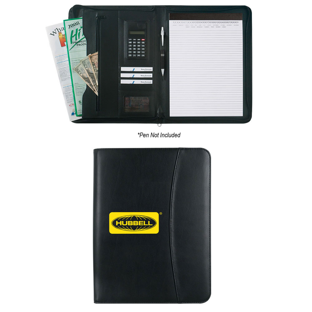LEATHER LOOK ZIPPERED PORTFOLIO WITH CALCULATOR